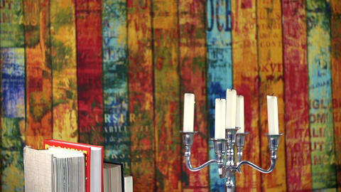 Tilt shot of colorful background and books Footage