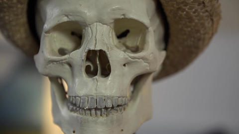 Frontal shot of a skull uttering some words Footage