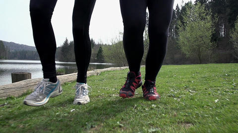 Close Up On Legs Feet Running In Slow Motion Footage