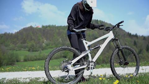 Win The Bike Race stock footage