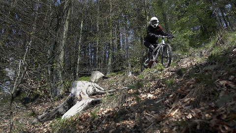 Downhill driver check the cycle route Footage