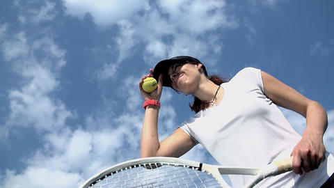 Athletic woman preparing to serve tennis ball Footage