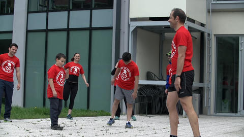 Team of contestants warming up for gladiator games Footage