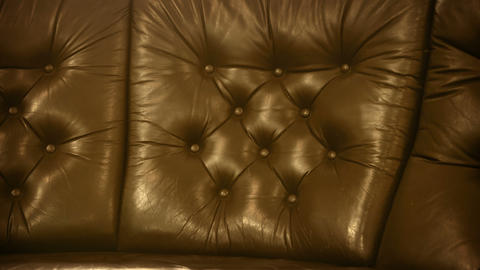Leather upholstery of old classic furniture Stock Video Footage