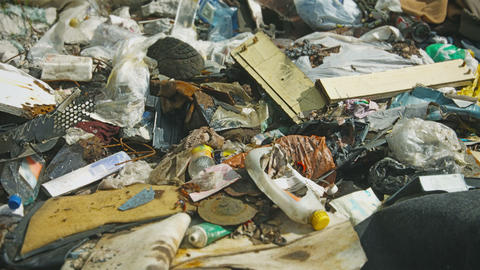 Urban Waste Dump Close Up stock footage