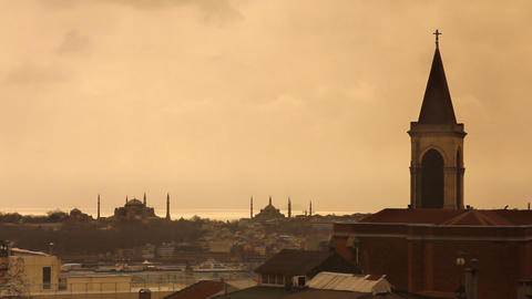 church view from istanbul historical peninsula Stock Video Footage