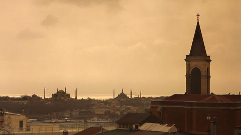church view from istanbul historical peninsula Footage