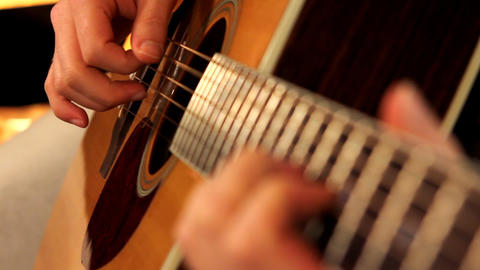 man playing guitar close up 2 Stock Video Footage