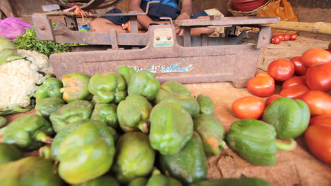 India.Junior trader vegetables Stock Video Footage