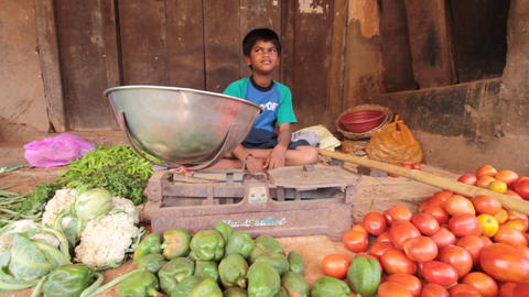 India.Junior trader vegetables Footage