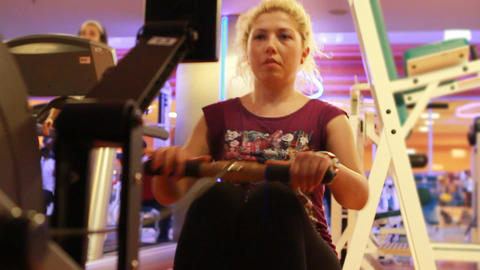 girl doing sports in a gym 24 Stock Video Footage