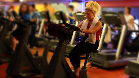 girl doing sports in a gym 22 Stock Video Footage