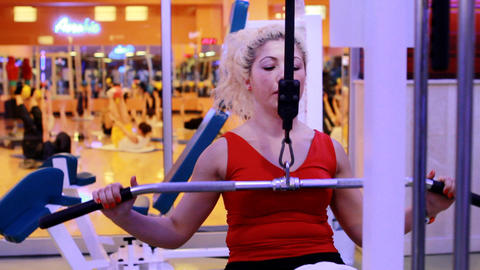 girl doing sports in a gym 8 Stock Video Footage