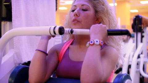 girl doing sports in a gym close up 2 Stock Video Footage