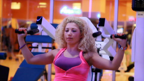 girl doing sports in a gym 14 Stock Video Footage