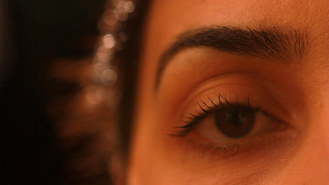 young woman right eye close up Stock Video Footage