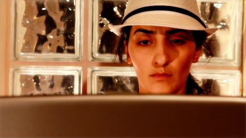 young woman on computer 2 Stock Video Footage