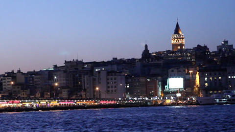 istanbul view from eminonu at night Stock Video Footage
