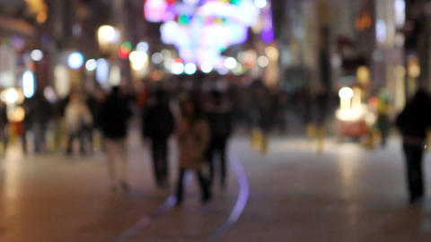 crowd walking at night Stock Video Footage