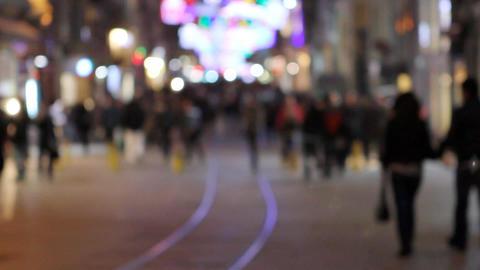 crowd walking at night Stock Video Footage