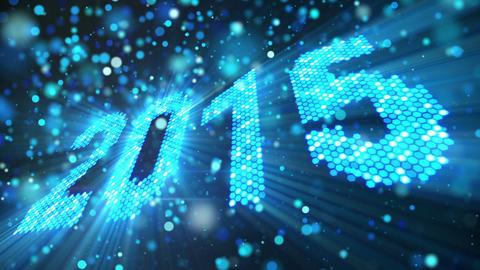 greeting new year 2015 of shining blue elements lo Animation
