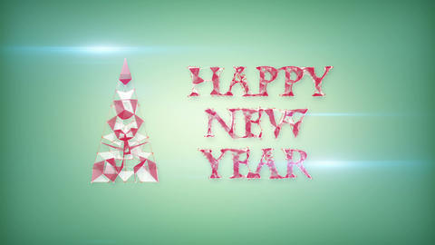 happy new year greeting triangles shape Animation