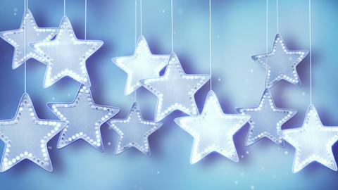blue hanging stars christmas lights loop Animation