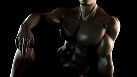 strong bodybuilder with alpha Animation