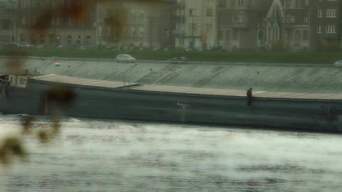 Barge Master on River Footage