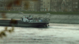 Barge Master on River Stock Video Footage
