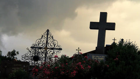 Cemetery Timelapse with Clouds Stock Video Footage