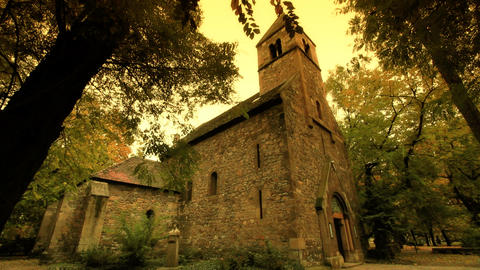 Chapel At Fall ARTCOLORED 01 Stock Video Footage