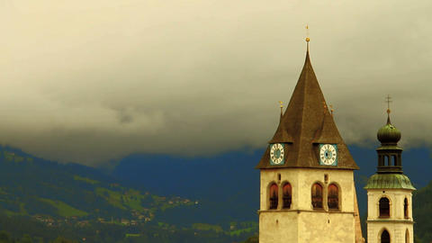 Church And Clouds In The Alps Stock Video Footage