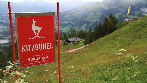 In The Alps 12 Hahnenkamm Start Stock Video Footage