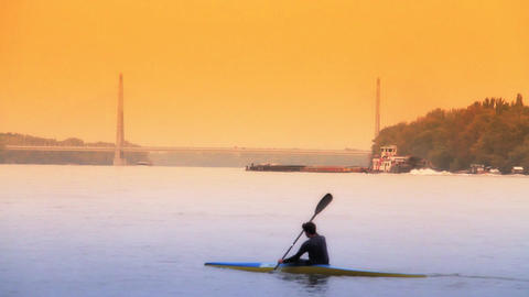 Kayakers ARTCOLORED 02 Stock Video Footage