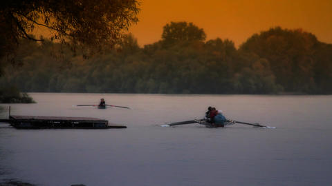 Rowing At Fall ARTCOLORED 01 Stock Video Footage