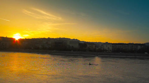 Sunset Over River Stock Video Footage
