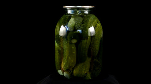 loop canned cucumbers Stock Video Footage
