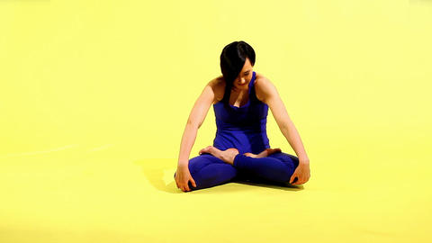 happy woman prepare for yoga training Footage