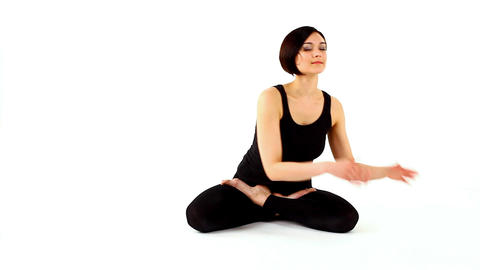 young beauty woman prepare for yoga salutation Stock Video Footage