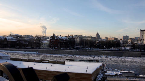 Pan on Temple of Christ the Saviour at winter sunset Stock Video Footage
