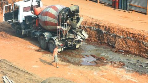 2058 Concrete Machine Drain HD Stock Video Footage