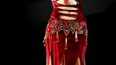 arabic belly dance - traditional red costume Footage