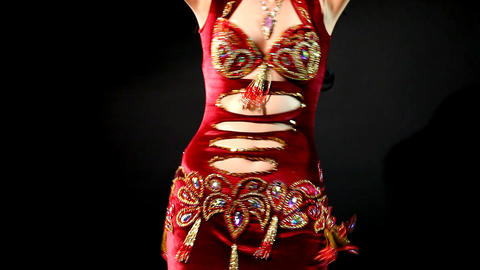 arabic belly dance - traditional red costume Stock Video Footage