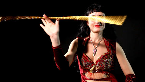 Woman dance with cane - editor cut Stock Video Footage