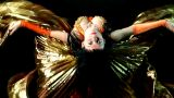 Arabic Woman Dancer Flap With Gold Wing stock footage