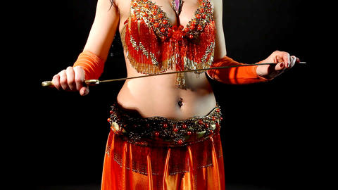Arabic dancer with saber - shake hip Stock Video Footage