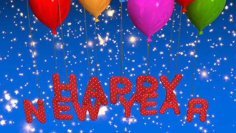 balloon happy new year Stock Video Footage