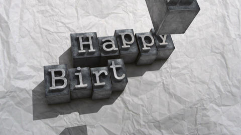 Litho happy birthday Stock Video Footage