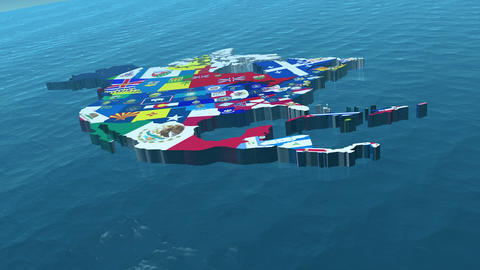 HD USA with State Flags in the Sea Wide Stock Video Footage